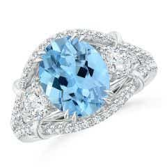 GIA Certified Oval Aquamarine Three Stone Ring with Diamonds - 3.7 CT TW