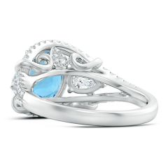 Toggle GIA Certified Oval Aquamarine Three Stone Ring with Diamonds - 3.7 CT TW