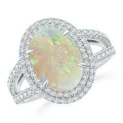 GIA Certified Oval Opal Split Shank Halo Ring - 2.9 CT TW