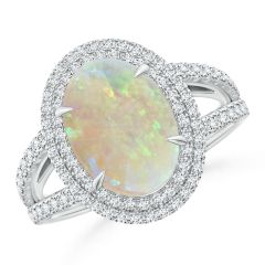 GIA Certified Oval Opal Split Shank Halo Ring - 2.9 CT TW