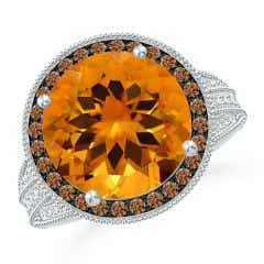 GIA Certified Round Citrine Ring with Coffee Diamond Halo - 6.4 CT TW