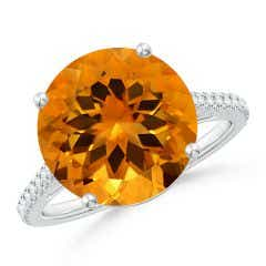 GIA Certified Round Citrine Cocktail Ring with Floral Motif - 6.2 CT TW