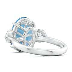 Toggle GIA Certified Sky Blue Topaz Three Stone Ring with Diamonds - 7.9 CT TW
