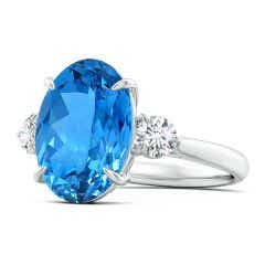 GIA Certified Swiss Blue Topaz Three Stone Ring with Diamond - 8.4 CT TW