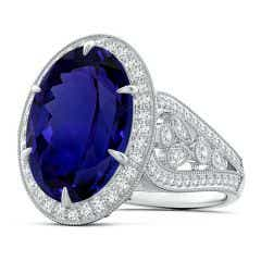 GIA Certified Oval Tanzanite Vintage Style Split Shank Ring - 11.8 CT TW