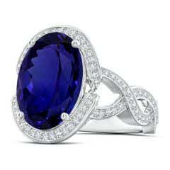 GIA Certified Oval Tanzanite Infinity Shank Ring with Halo - 11.7 CT TW