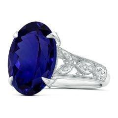 Vintage Style GIA Certified Oval Tanzanite Fleur De Lis Ring - 11.2 CT TW