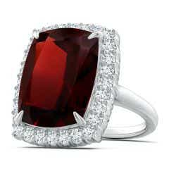 GIA Certified Cushion Garnet Ring with Diamond Halo - 12.5 CT TW