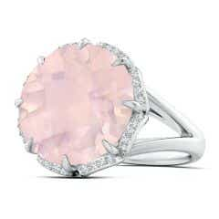GIA Certified Round Rose Quartz Ring with Floral Halo - 14.1 CT TW