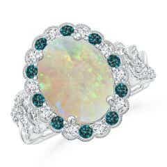 GIA Certified Oval Opal Ring with Blue & White Diamonds - 3.2 CT TW