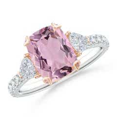 GIA Certified Pink Morganite Ring with Trillion Diamonds - 2.62 CT TW