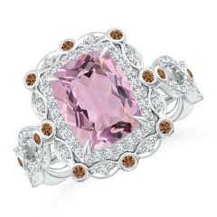 Vintage Inspired GIA Certified Pink Morganite Halo Ring - 2.4 CT TW