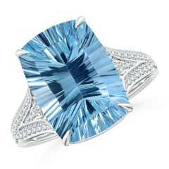 GIA Certified Oval Sky Blue Topaz Split Shank Solitaire Ring - 8.2 CT TW