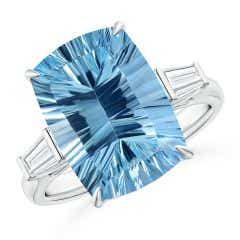 GIA Certified Sky Blue Topaz Ring with Baguette Diamonds - 8.3 CT TW