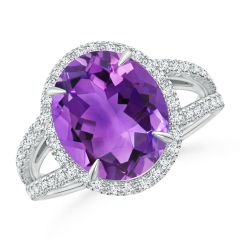 Oval Amethyst Split Shank Ring with Halo