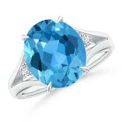 Oval Swiss Blue Topaz Ring with Diamond Accents