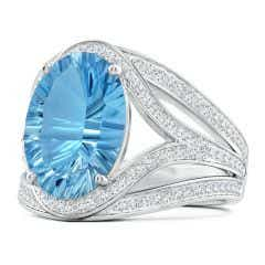 GIA Certified Oval Sky Blue Topaz Ornate Shank Cocktail Ring - 7.6 CT TW