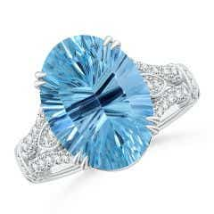 Double Claw-Set GIA Certified Sky Blue Topaz Split Shank Ring - 7.3 CT TW