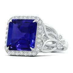GIA Certified Octagonal Tanzanite Halo Ring with Filigree - 6.3 CT TW