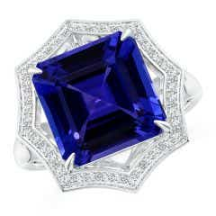 GIA Certified Octagonal Tanzanite Ring with Star Halo - 6.1 CT TW
