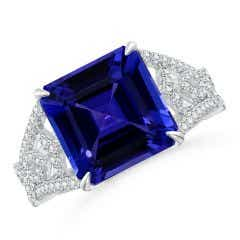 GIA Certified Octagonal Tanzanite Ring with Ornate Shank - 6.2 CT TW