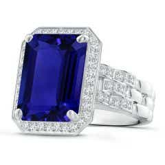 GIA Certified Octagonal Tanzanite Brick Pattern Halo Ring - 9.5 CT TW
