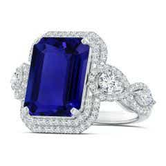 GIA Certified Tanzanite Ring with Round & Marquise Diamonds - 10.3 CT TW