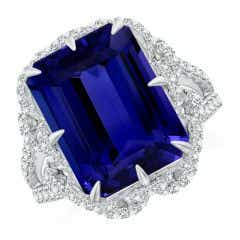 GIA Certified Octagonal Tanzanite Floral Split Shank Ring - 9.9 CT TW