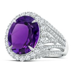 GIA Certified Oval Amethyst Halo Ring with V-Shaped Shank - 8.6 CT TW