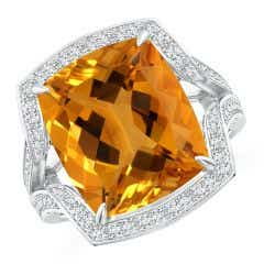 GIA Certified Citrine Split Shank Ring with Infinity Motif - 9.5 CT TW