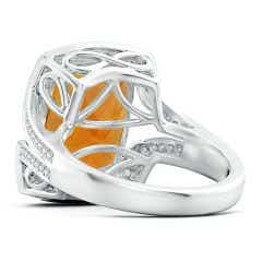 Toggle GIA Certified Citrine Split Shank Ring with Infinity Motif - 9.5 CT TW