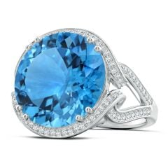 GIA Certified Swiss Blue Topaz Interlocked Shank Halo Ring - 19.82 CT TW