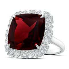 GIA Certified Cushion Garnet Ring with Triangular Motif Halo - 16.55 CT TW