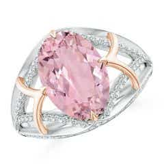 Classic GIA Certified Oval Pink Morganite Split Shank Ring - 3.57 CT TW