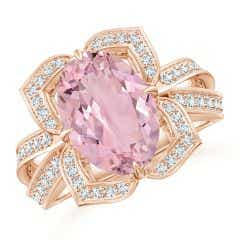 GIA Certified Oval Pink Morganite Floral Cocktail Ring - 3.54 CT TW