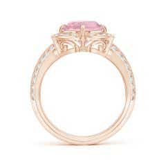 Toggle GIA Certified Oval Pink Morganite Floral Cocktail Ring - 3.54 CT TW