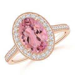 GIA Certified Pink Morganite Halo Ring with Bezel-Set Diamond - 2.23 CT TW