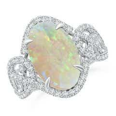 Claw-Set GIA Certified Oval Opal Criss-Cross Shank Ring - 4.54 CT TW