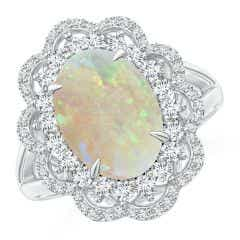 GIA Certified Opal Cocktail Ring with Diamond Floral Halo - 3.04 CT TW