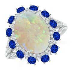 GIA Certified Oval Opal Ring with Sapphire & Diamond Halo - 3.93 CT TW