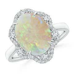 GIA Certified Opal Floral Ring with Reverse Tapered Shank - 2.81 CT TW