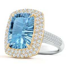 Claw-Set GIA Certified Sky Blue Topaz Double Halo Ring - 9.1 CT TW