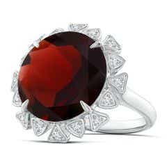 GIA Certified Round Garnet Ring with Triangular Motif Halo - 13.55 CT TW