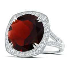 GIA Certified Round Garnet Cocktail Ring with Cushion Halo - 14.11 CT TW