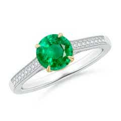 Vintage Inspired Claw-Set Round Emerald Solitaire Ring