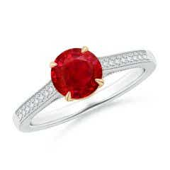 Vintage Inspired Claw-Set Round Ruby Solitaire Ring