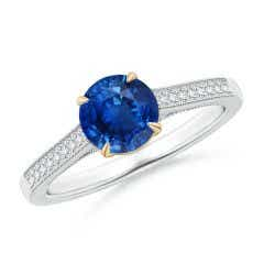 Vintage Inspired Claw-Set Round Sapphire Solitaire Ring
