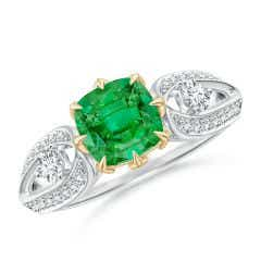 Vintage Inspired Cushion Emerald Split Shank Ring