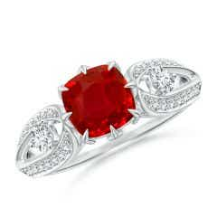Vintage Inspired Cushion Ruby Split Shank Ring