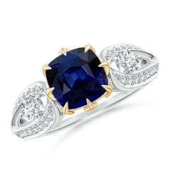 Vintage Inspired Cushion Sapphire Split Shank Ring